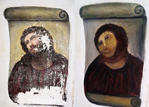Du khách đổ xô đến xem bức tranh thảm họa phục chế ở tây ban nha