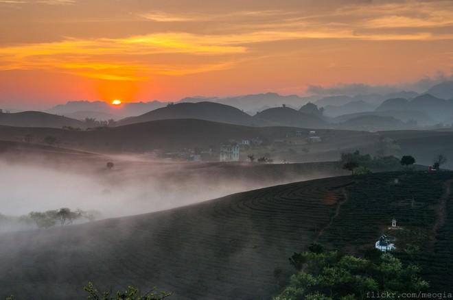 Vẻ đẹp mê hoặc của mộc châu trong sương sớm