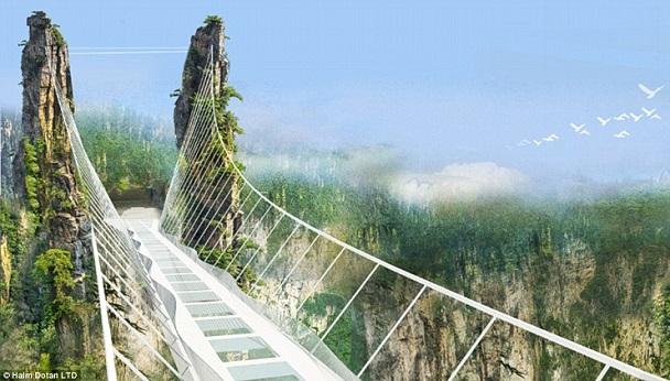 choáng với cây cầu bằng kính đáng sợ nhất thế giới ở trung quốc