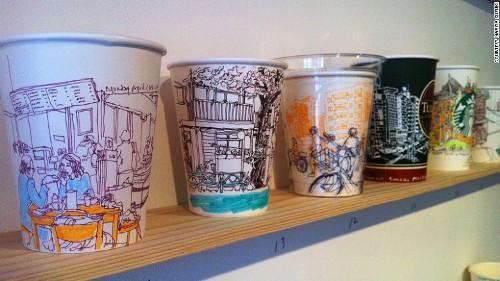 Đường phố tokyo trên những chiếc cốc giấy