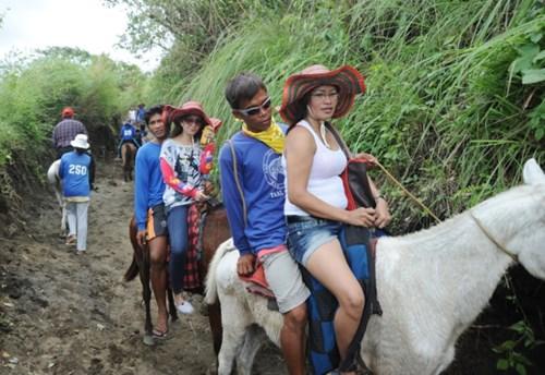 Cưỡi ngựa đi xem núi lửa ở philippines