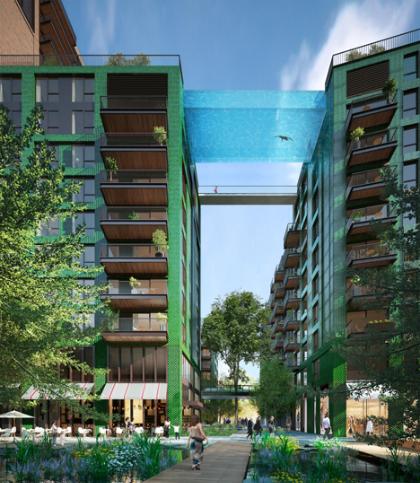 Hồ bơi trong suốt giữa trời london