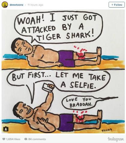 Bị cá mập cắn chàng trai vẫn tranh thủ selfie