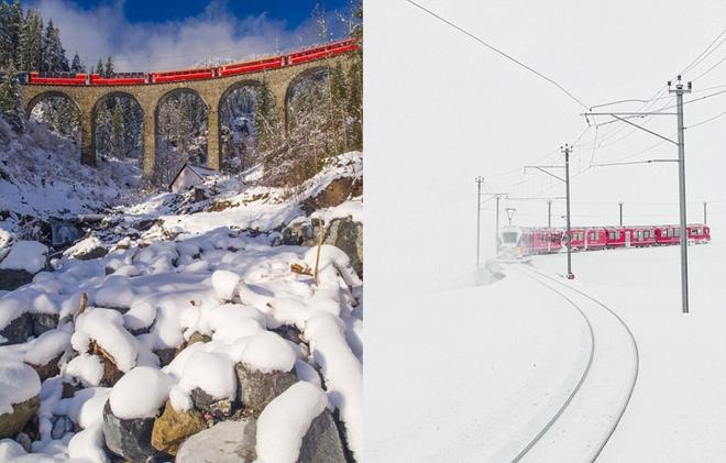 Tàu hỏa chạy xuyên dãy alps trong tuyết trắng